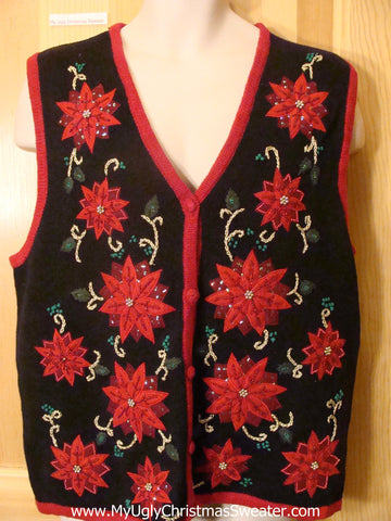 Ugly Christmas Sweater Vest Red Poinsettias Bling