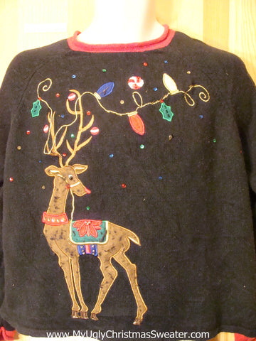 Ugly Christmas Sweater Huge Colorful Reindeer
