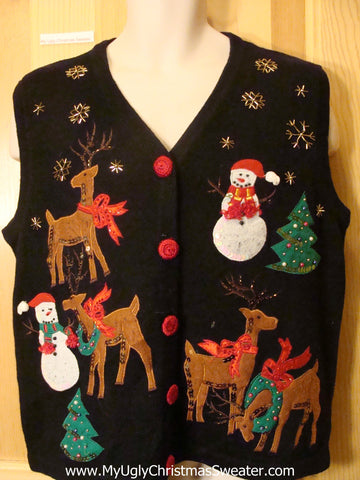 Ugly Christmas Sweater Festive Reindeer and Snowmen Vest