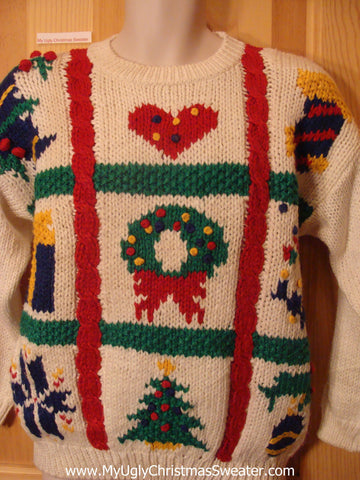 Ugly Christmas Sweater 80s Pullover Crafty Red Heart