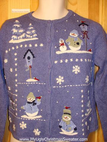 Tacky Ugly Christmas Sweater Blue Night Sky Winter Wonderland (f231)