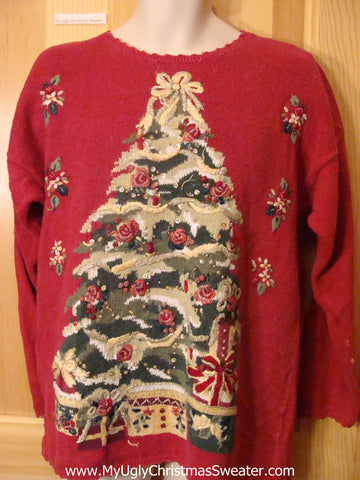 Ugly Christmas Sweater 80s Style Huge Cheesy Tree