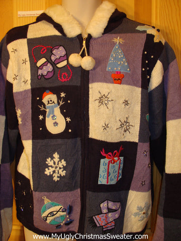 Purple Ugly Christmas Sweater Hoodie with Furry Collar