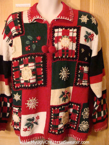 Ugly Christmas Sweater Crafty Plaid Red and Green Mess
