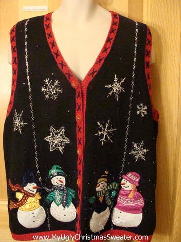 Ugly Christmas Sweater Vest Snowmen and Crafty Trim