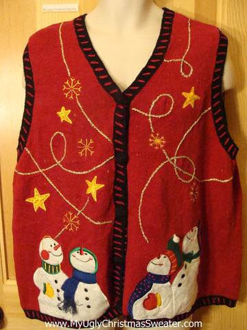 Ugly Xmas Sweater Vest with Crafty Embroidery and Snowmen