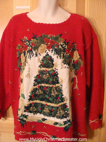 Ugly Christmas Sweater 80s Mess Red Pullover