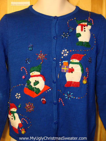 Tacky Ugly Christmas Sweater Sledding Snowman with Bead Bling (f232)