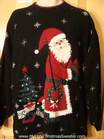 Ugly Christmas Sweater 80s Santa Wms Mens XXXL