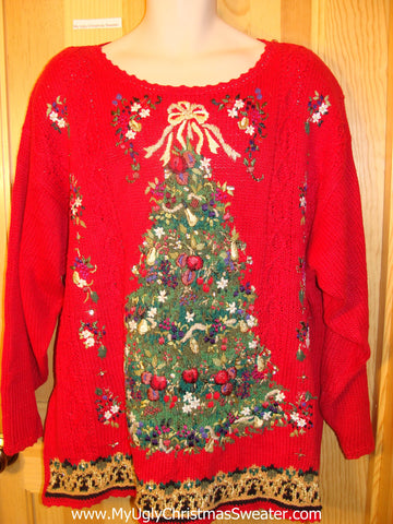 Ugly Christmas Sweater 80s Red Pullover Wms Mens XXXL