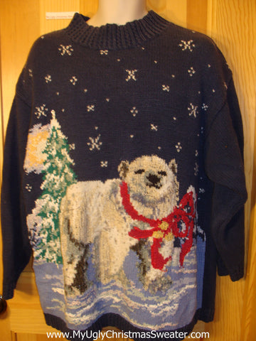 Ugly Christmas Sweater 80s Bear with Bow