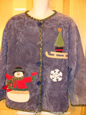 Ugly Christmas Sweater Velour Jacket Snowman