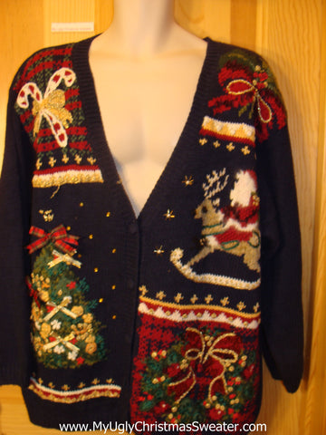 Ugly Christmas Sweater 80s Santa Reindeer and Tree