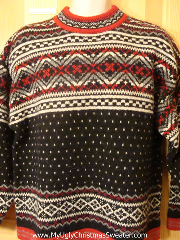 Ugly Christmas Sweater Nordic Pullover Red and Black