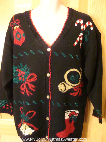 Ugly Christmas Sweater 80s Cardigan with Candycanes