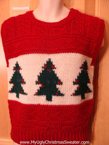 Ugly Christmas Sweater Vest 80s Trees