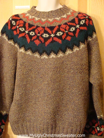Ugly Christmas Sweater Nordic Festive Brown Pullover