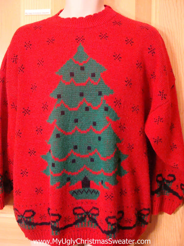 Ugly Christmas Sweater 80s 2sided Pullover with Tree