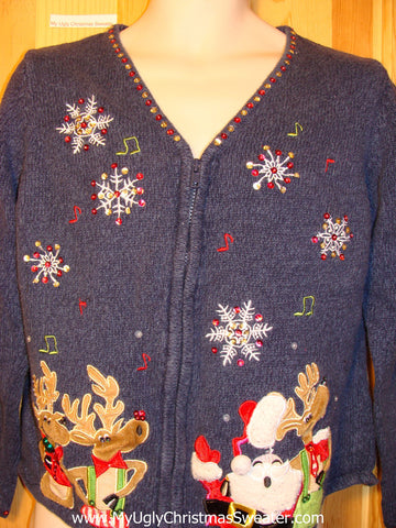 Tacky Ugly Christmas Sweater Santa & Reindeer Singing Musical Notes (f234)
