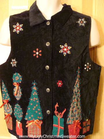 Cheap Ugly Christmas Vest with Pointy Trees