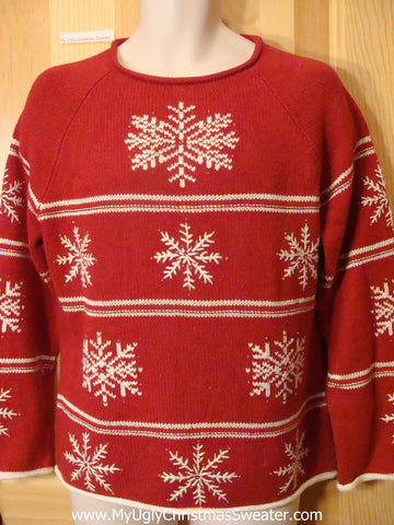 Ugly Red Christmas Sweater Pullover with Nordic Snowflakes