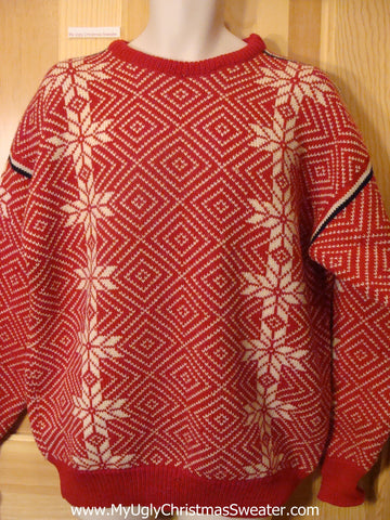 Ugly Christmas Sweater Red Pullover Nordic Snowflakes