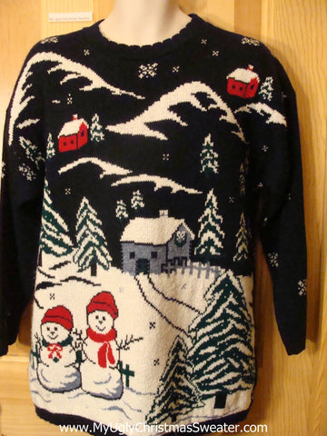 Ugly Christmas Sweater 80s Pullover Snowmen in Winter