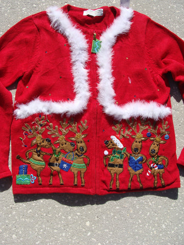 Ugly Christmas Sweater Funny Dancing Reindeer