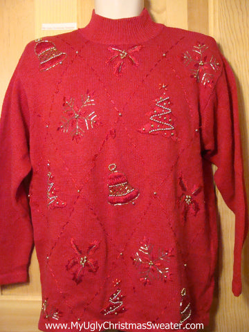 Tacky Ugly Christmas Sweater with 80s Bling & Padded Shoulders (f235)