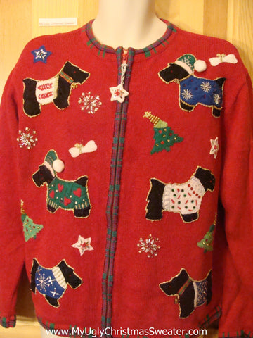 Ugly Christmas Sweater with Scotty Dogs Puppy