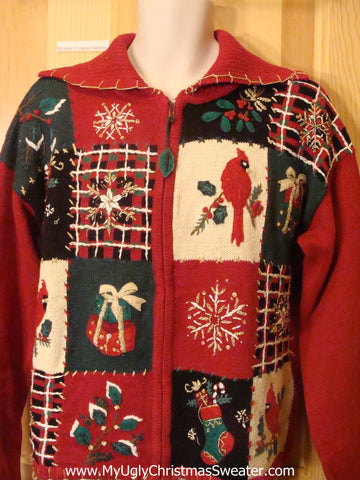 Ugly Christmas Sweater Plaid Blocks Red Cardinals