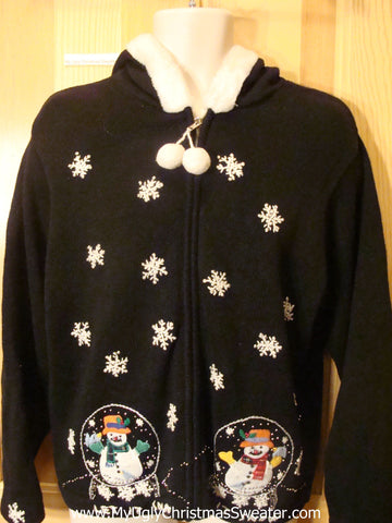 Ugly Christmas Sweater Hoodie with Snowglobes