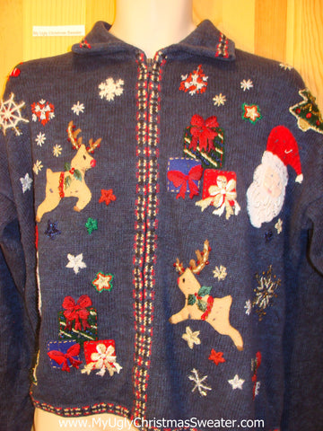 Ugly Christmas Sweater with Flying Reindeer