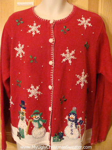 Ugly Christmas Sweater Snowmen in Winter Wonderland