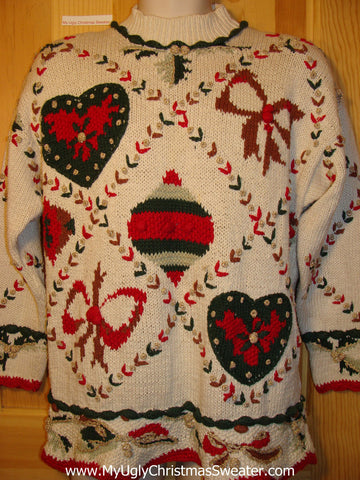 Tacky Ugly Christmas Sweater Crafty 80s with Padded Shoulders Bows & Hearts (f237)