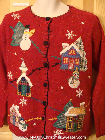 Ugly Christmas Sweater Plaid Trees, Houses, and Snowman