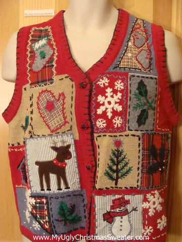 Ugly Christmas Sweater Vest Reindeer Plaid Themed
