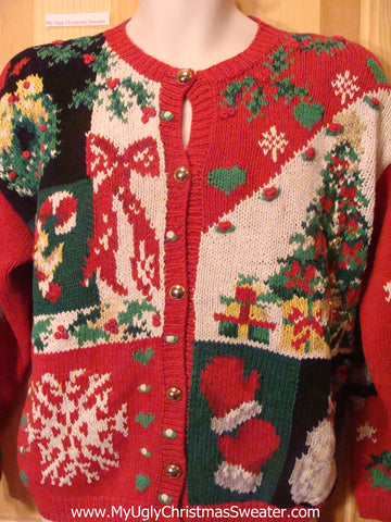 Ugly Christmas Sweater 80s 2sided Horrible Cardigan