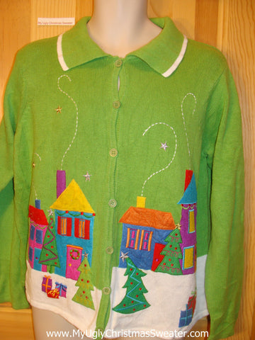 Ugly Christmas Sweater Lime Green Winter Town