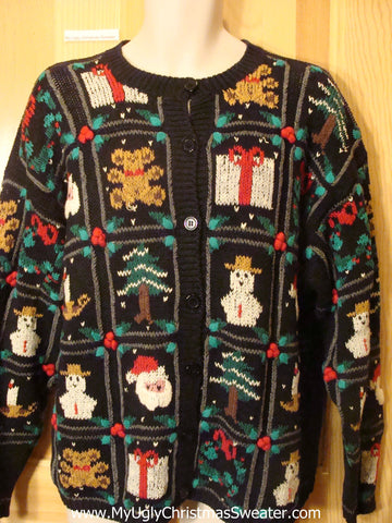 Ugly Christmas Sweater Bears, Snowmen, Trees