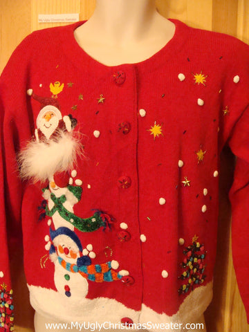 Ugly Christmas Sweater Fluffy 3D Santa and Snowmen