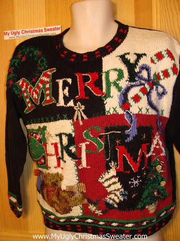 Tacky Ugly Christmas Sweater 80s Style Padded Shoulders (f22)