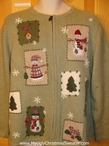 Ugly Christmas Sweater Plaid Cardinal and Snowmen