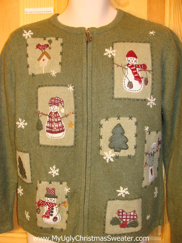 Ugly Green Christmas Sweater Plaid Cardinal Bird and Snowman