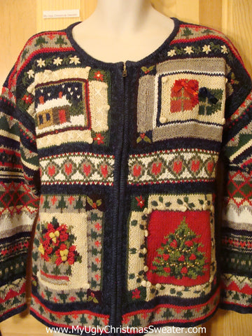 Ugly Xmas Sweater Festive 2sided Mess of Geometric Shapes