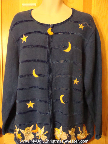 Ugly Christmas Sweater Angels Stars and Moon