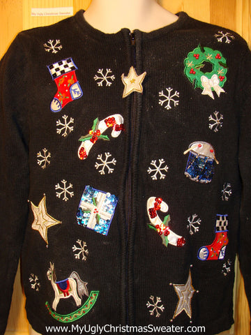 Tacky Ugly Christmas Sweater with Bling Accents on Floating Decorations: Horse, Candy Cane, Stocking, Wreath, Drum, and Star  (f240)