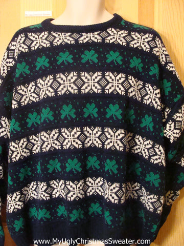 Ugly St Patricks Day Sweater Shamrocks Mens XXXL