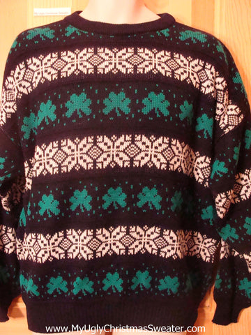 Ugly St Patricks Day Sweater Shamrocks Mens XXL