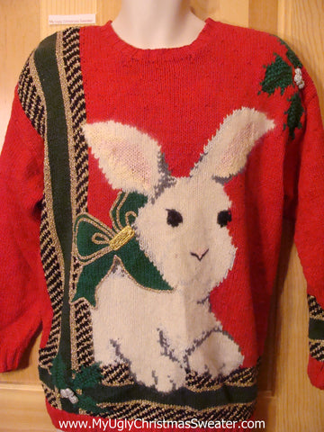 Holy Grail of Ugly Christmas Sweater Funny Bunny 80s